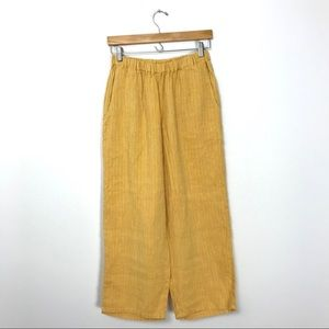 FLAX Mustard Yellow Striped Linen Pants Pockets C2